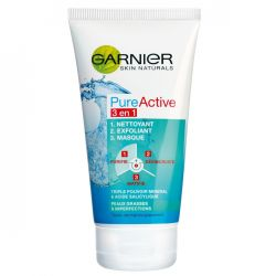 GARNIER Pure Active 3 in 1 gel de curatare pentru ten gras sau mixt, 150 ml