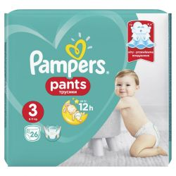 Pampers Pants nr. 3 MIDI, 6-11 kg, 26 buc